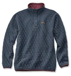 Orvis Trout Bum Quilted Snap Sweatshirt - Blue Heather