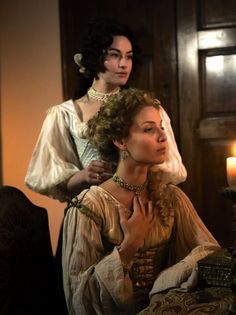 Milady de Winter and Ninon de Larroque - Maimie McCoy andAnnabelle Wallis in The Musketeers, set in the 1630s (BBC TV series 2014-).