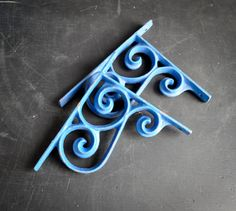 Vintage Cast Iron Shelf Brackets Indigo Blue by drowsySwords, $18.00