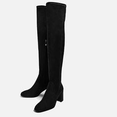 Stretch High Heel Over-the-knee Boots in Black (Zara)
