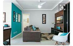 [inspiracao] Essa sera a combinação de cores que escolhemos para nossa sala: paredes cinza, sofa marrom e detalhes em azul turquesa... No lugar da parede turquesa, escolhemos substituir por um papel de parede... acho que vai ficar bom. É muita indecisão mas por enquanto é essa a escolha hehehe #pinterest #paredecinza #cromio #suvinil #azulturquesa #instadecor #decor #meuprimeiroape #sala #salapequena