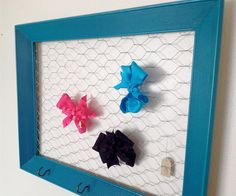 Teal Turquoise Chicken Wire Frame, Hair Bow and Hair Clip Organizer, Memo Board, Photo Board, Jewelry Display Or