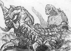 Sketch card Godzilla vs Battra
