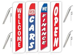 Certified pre owned Pack of 3 trade ins welcome Open King Swooper Feather Flag Sign Kit With Pole and Ground Spike
