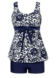 Printed Navy Blue Bowknot Embellished Tankini Set on sale only US$28.64 now, buy cheap Printed Navy Blue Bowknot Embellished Tankini Set at lulugal.com