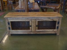 Rustic Bench , Coffee Table With Chicken Wire Doors, Repurposed Wood, Recycled…