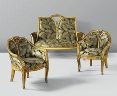 ** Louis Majorelle gilt wood 3-piece salon suite.