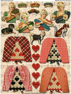 Q♥ Q♣ Q♠ Q♦ Playful Queens paper dolls Vintage Paper Dolls, Vintage Crafts, Beautiful Dolls, Beautiful Collage, Paper People, Paper Art, Diy Paper, Doll Parts, Decoupage