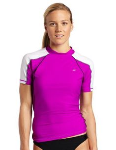 d8ef0c07f1222 Speedo Women s Piped Swim Rashguard Coverup Tee Speedo.  33.50 Water Shirt
