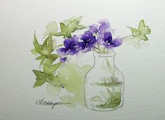 flowers in glass jar | Purple Flowers and Ivy in Glass Jar Watercolor by RoseAnnHayes