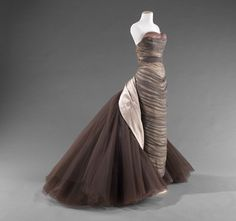 Butterfly Evening Gown Artist: Charles James, American, born Great Britain, 1906–1978 Date: 1955 Medium: Gray silk chiffon and silk satin; dark purple, lavender, and cream silk tulle
