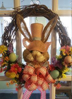 Easter Wreath / Bunny wreath by PineconesandPumpkins on Etsy