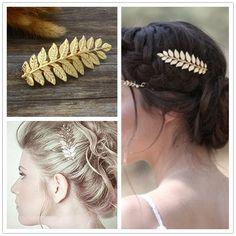 Nueva moda hairwear chapados en oro de hoja peinetas horquilla palillos del pelo barrettes regalo para las mujeres chica H371