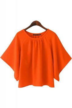 Orange Round Neck Batwing Sleeve Chiffon Blouse
