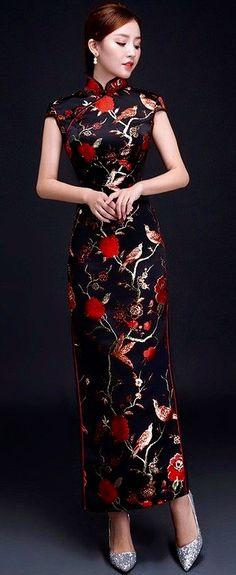 UK stock noir dragon /& phoenix chinois longue soirée robe de Soirée Qipao Cheongsam