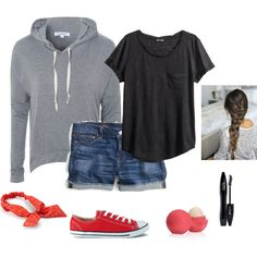 Summer Camp by peculiarsisters on Polyvore featuring Glamorous, H&M, J.Crew, Converse, Mudd, Lancôme and Eos