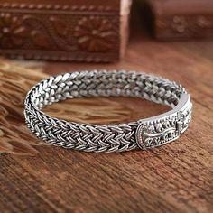 Sterling silver wristband bracelet, 'Mayom Tree' - Handcrafted Sterling Silver Wristband Bracelet