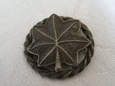 VINTAGE Silver Metal Leaf BUTTON by abandc on Etsy, $2.25