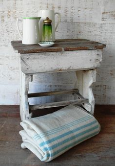 Delicieux White Washed Out Stool/table And Vintage Jugs.