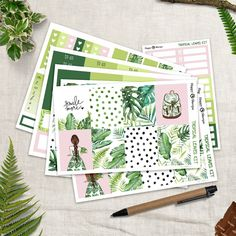 Tropical Leaves - Full Planner sticker kit sheets) - for Happy Planner and Erin Condren Life Planner, Weekly Planner, Happy Planner, Tropical Leaves, Tropical Plants, Kit, Erin Condren, Gel Pens, Sticker Paper