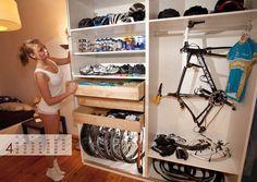 We can only aspire to this level of bike kit organisation Range Velo, Bike Mtb, Triathlon Gear, Bike Room, Bicycle Storage, Bicycle Rack, Bike Shed, Road Bikes, Cycling Bikes