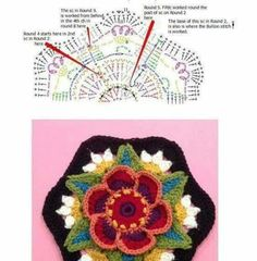 Crochet flower hexagon chart pattern