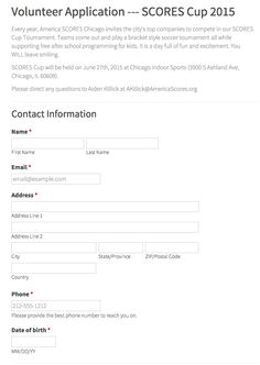 America Scores Chicago Volunteer Application form