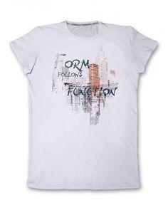 Бяла мъжка тениска с щампа - Form Follows Function  #тениска #тениски #мъжкатениска #дънки #фешън #лято #лято2015 #колекция2015 #тенискиспринт