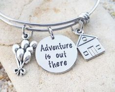 Items similar to Sale - Disney Bracelet - Disney Bangle - Adventure is out there - UP - Bridesmaid Gift - Disney Vacation - Disney Necklace - Disney Gift on Etsy Disney Inspired Jewelry, Disney Jewelry, Disney Rings, Disney Up, Disney Gift, Up Quotes Disney, Cute Jewelry, Jewelry Gifts, Silver Jewelry