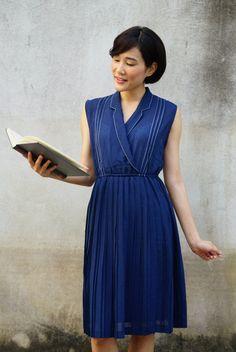 Vintage Dress, 1980s Dress, Vintage Japanese Dress, Vintage Womens Dress, Summer Dress, Boho Dress, 80s Dress, Navy Blue Dress by hisandhervintage on Etsy