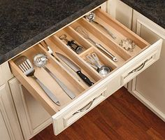Rev-A-Shelf Tall Wood Utility Tray Insert at Lowe's. Organize kitchen drawers with Rev-A-Shelf's wood utility tray insert. The series is made of our classic maple hardwood with a UV cured clear Kitchen Drawer Dividers, Kitchen Drawer Organization, Kitchen Drawers, Kitchen Storage, Cabinet Organizers, Utensil Drawer Organization, Organization Hacks, Tidy Kitchen, Kitchen Tops