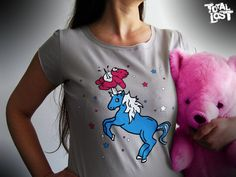 Unicorn and care bear women t shirt. http://www.etsy.com/listing/93192046/t-shirt-gray-women-unicorn-care-bear