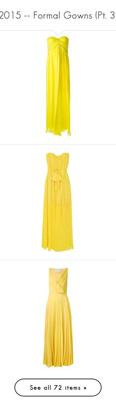 """2015 -- Formal Gowns (Pt. 3)"" by kyla-perez-santiago ❤ liked on Polyvore featuring dresses, gowns, iltapuvut, long dresses, evening gowns, strapless long dresses, strapless evening gowns, ruffle long dress, yellow evening dress and yellow gown"