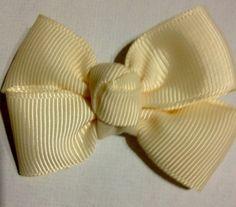 Cream  (2 Inches) Baby Magic Hairbows Non Slip Clips ( Machine Washable)
