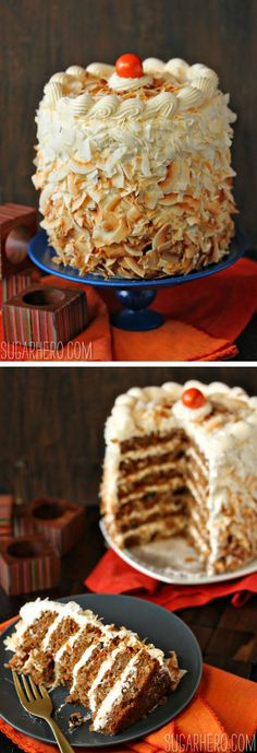 Carrot Cake with Cream Cheese Swiss Meringue Buttercream | From SugarHero.com  #fall #autumn #carrot #carrotcake