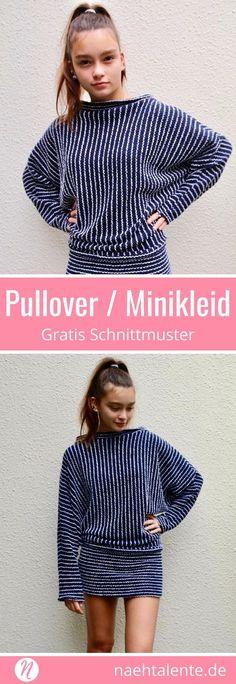 Fledermaus-Pullover für Damen ❤ gratis Schnittmuster ❤ weit und lässig  geschnitten ❤ als Minikleid tragbar ❤ PDF Schnittmuster zum Ausdrucken ❤  Gr. S ... f83653b199fdc
