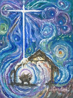 Cards - Starry Night Manger Scene - Pack of 8 with Envelopes, Story Insert, and Plastic Sleeve