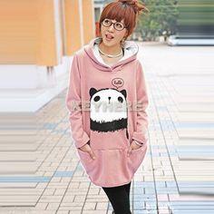 Fashion Korean Fleece Sweatshirt Cute Panda Hoodie Loose Lady Coat Jacket K0E1 | eBay