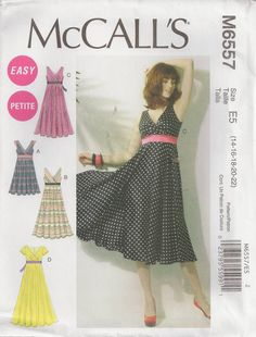 McCall's M6557, Misses' Dresses, Size 14, 16, 18, 20, 22, Sewing Pattern by OhSewWorthIt on Etsy