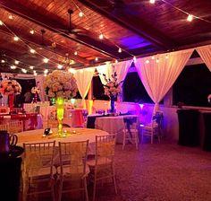 Event draping and bistro lighting decor at the Jupiter Beach Resort