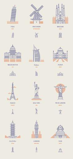 Icônes de monuments les plus célèbres du monde de ligne
