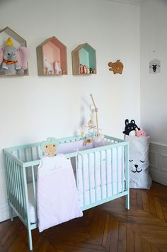 How simple and stylish is this nursery, lovely Dusty Aqua moKee Mini Cot!