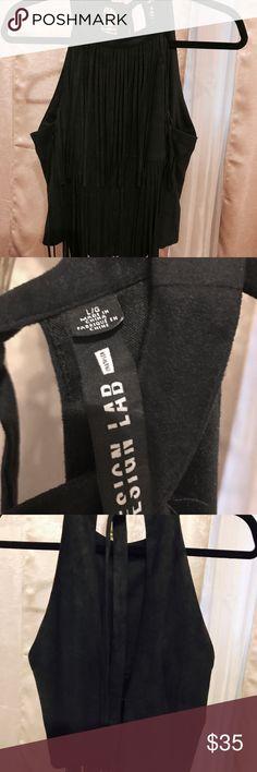🦋Design Lab Women's Fringed Faux Suede Top L 🦋Design Lab Women's Fringed Faux Suede Top L, worn x2, like new. Design Lab Tops Blouses