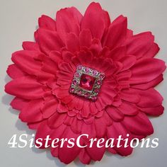 Shocking Pink Gerbera Daisy Flower Clip with by 4SistersCreations, $6.00