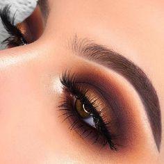 makeup for teens Valentines Day Eye Makeup Ideas; Day Eye Makeup, Makeup News, Gold Makeup, Makeup For Brown Eyes, Brown Eyeshadow Looks, Morphe Eyeshadow Palette, Eyeshadow Makeup, Eyelashes Makeup, Makeup Monolid