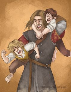 Boromir messing around with Pippin and Merry