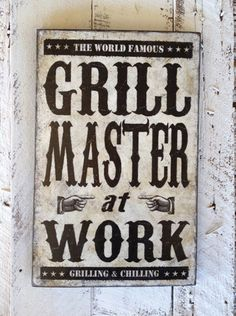 Grill Master at Work Bar grill sign man cave patio by SignNiche, $38.00