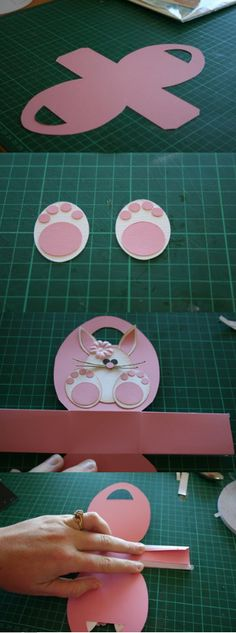 Easter card ... photo tutorial ... egg shaped with punch art bunny ... pink and white ... super cute!