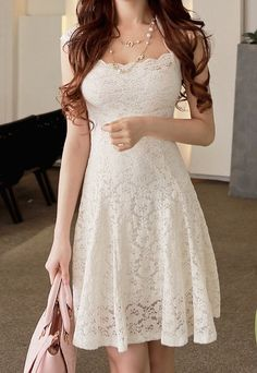 Lace white summer dress! I am in love with this lace! I want!
