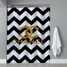 High Quality Chevrond Coco Chanel Shower Curtain
